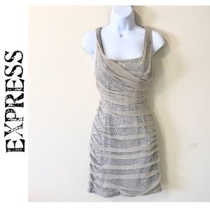 Express Rouched Silver Sequin Sheer Wrap Dress 6